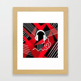 Red Love Gamer Headset Framed Art Print