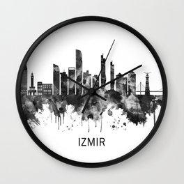 Izmir Turkey Skyline BW Wall Clock