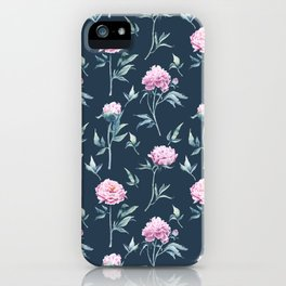 Rows of watercolor peonies seamless pattern on a dark blue background iPhone Case