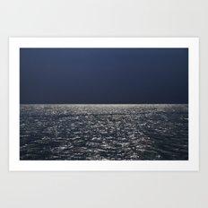 Silver sea. Blue sky before the storm Art Print