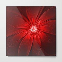 Red Flower, Abstract Fractal Art Metal Print
