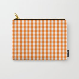 Classic Pumpkin Orange and White Gingham Check Pattern Carry-All Pouch