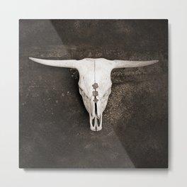 Sepia Brown Cow Skull Metal Print