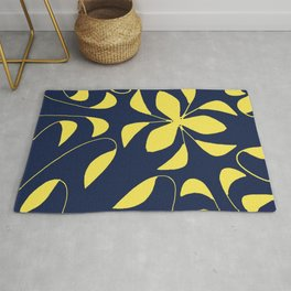 Leafy Vines Yellow and Navy Blue Rug