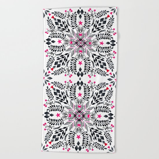 Winter Graphic Folk Art Pattern Beach Towel