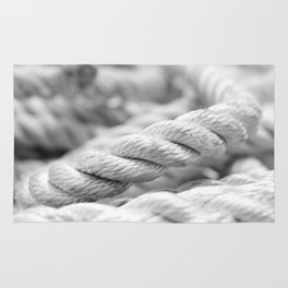 Ropes black and white macro Rug