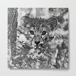 AnimalArtBW_Cheetah_20171201_by_JAMColorsSpecial Metal Print