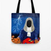 doom Tote Bags featuring Doom by Lupo Solitario