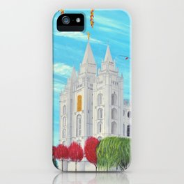 Salt Lake City, Utah LDS Temple in Autumn iPhone Case