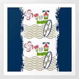 Surfer Stripes -navy Art Print