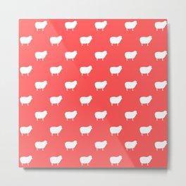 Sheep pink background pattern Metal Print