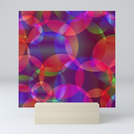 Abstract soap made from cosmic transparent purple circles and purple bubbles on a dark background. Mini Art Print