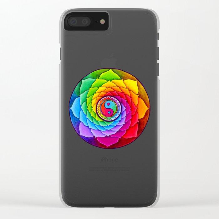 Healing Lotus Rainbow Yin Yang Mandala Clear iPhone Case