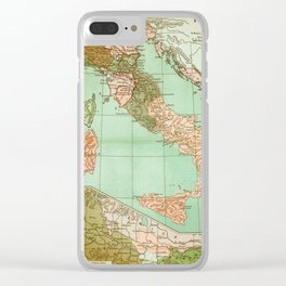 Italy in 1490 - Vintage Map Series Clear iPhone Case