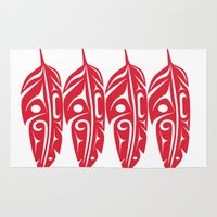transformer Area & Throw Rugs featuring Four Red Feathers by Lou-ann Neel Studio