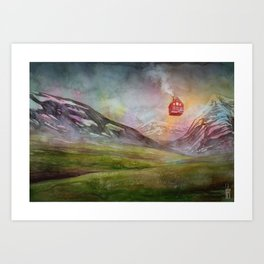 Icelandic Landscape with Floating House Art Print