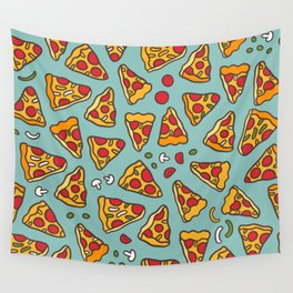 Funny pizza pattern Wall Tapestry