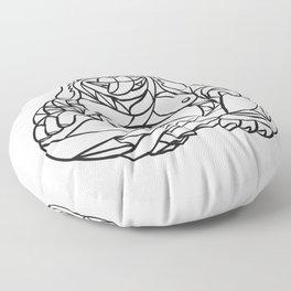 Laughing Dog Buddha Mosaic Black and White Floor Pillow