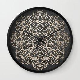 Mandala White Gold on Dark Gray Wall Clock