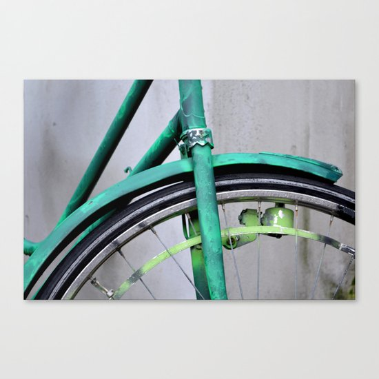 Green bike Canvas Print