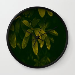 Olive Green Leaves Wall Clock