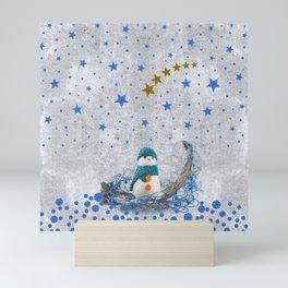 Snowman with sparkly blue stars Mini Art Print