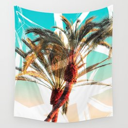 Modern summer tropical palm trees seascape photography white abstract geometric brushstrokes paint Wall Tapestry