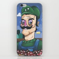 luigi iPhone & iPod Skins featuring Luigi by Cody Fisher