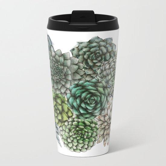 An Assortment of Succulents Metal Travel Mug