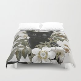 Cat With Flowers Duvet Cover