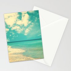 Retro beach and turquoise sky (square) Stationery Cards