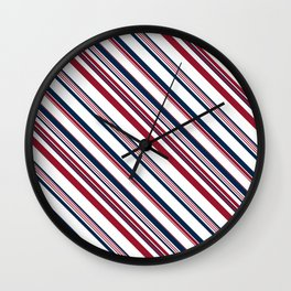 Red and Blue Stripes Wall Clock
