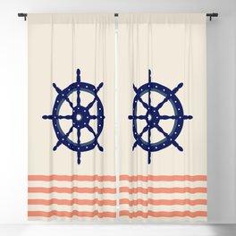 AFE Navy Helm Wheel, Nautica Art Blackout Curtain