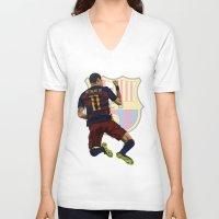 neymar V-neck T-shirts featuring Neymar  by siddick49