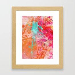 Paint Splatter Turquoise Orange And Pink Framed Art Print
