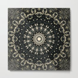 Decorative Black Ink Bohemian Mandala Metal Print