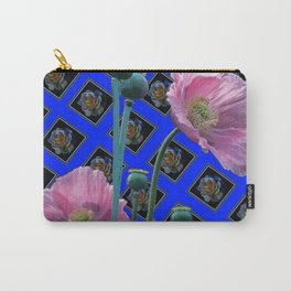 PINK GARDEN POPPIES ON BLUE PATTERNED ART Carry-All Pouch