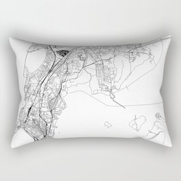 Mumbai White Map Rectangular Pillow