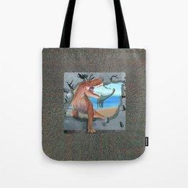 Dinosaur has Broken Through the Wall Tote Bag
