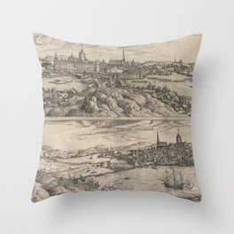 Vintage Map of Stockholm Sweden (1588) Throw Pillow