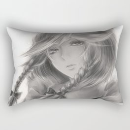 Young woman black and white Rectangular Pillow