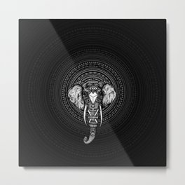 Aztec Circle Elephant Metal Print
