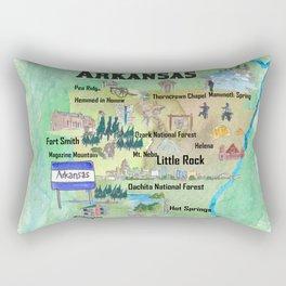 USA Arkansas State Travel Poster Map with Tourist Highlights Rectangular Pillow