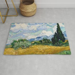 Wheat Field with Cypresses - Vincent van Gogh Rug