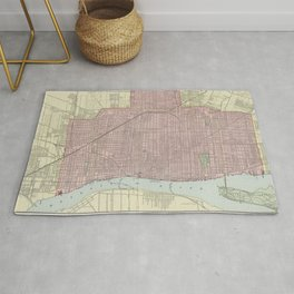 Vintage Map of Detroit Michigan (1901) Rug