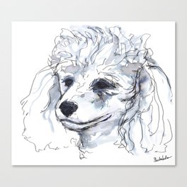 Poodle (portrait for my mom), watercolor Canvas Print