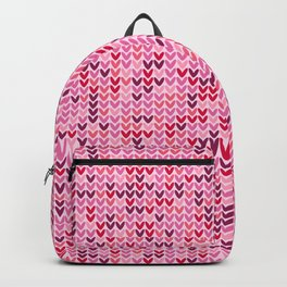 Cozy Valentine's pink hearts knit pattern Backpack