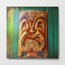 Crazy, fun, fierce, Hawaiian retro wood carving tiki face close-up photo Metal Print