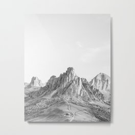 Italian Dolomites Black and White Metal Print