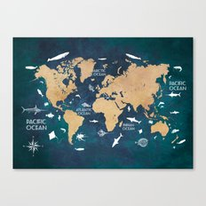 World Map Oceans Life blue Canvas Print